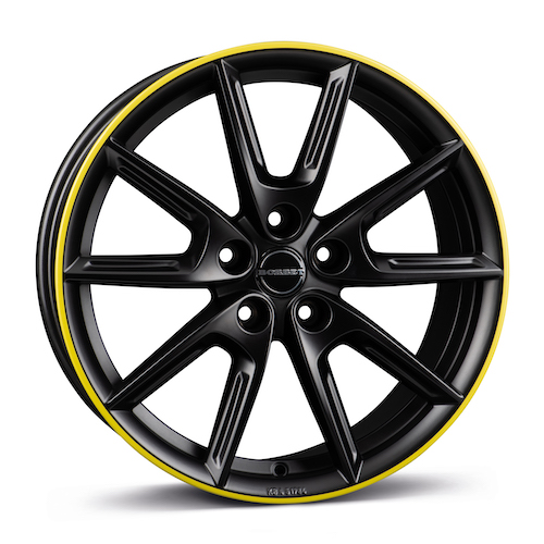 BORBET_LX18_black matt rim yellow