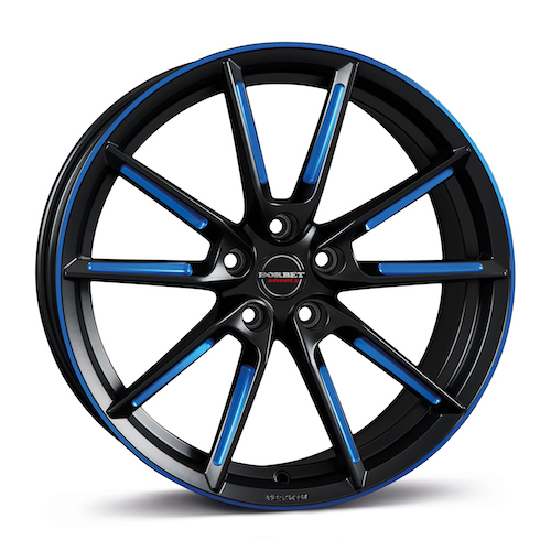 BORBET LX<br>black matt spoke<br>rim blue polished