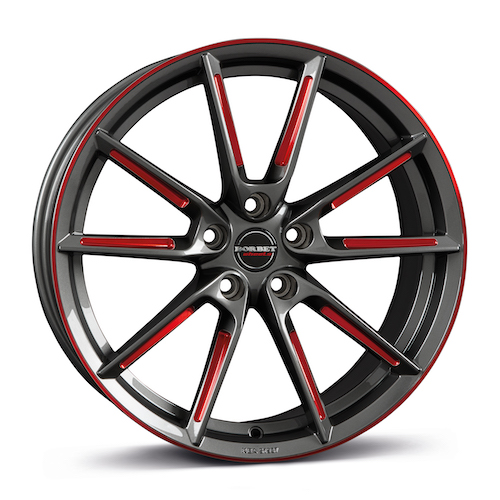 BORBET LX<br>graphite spoke<br>rim red polished